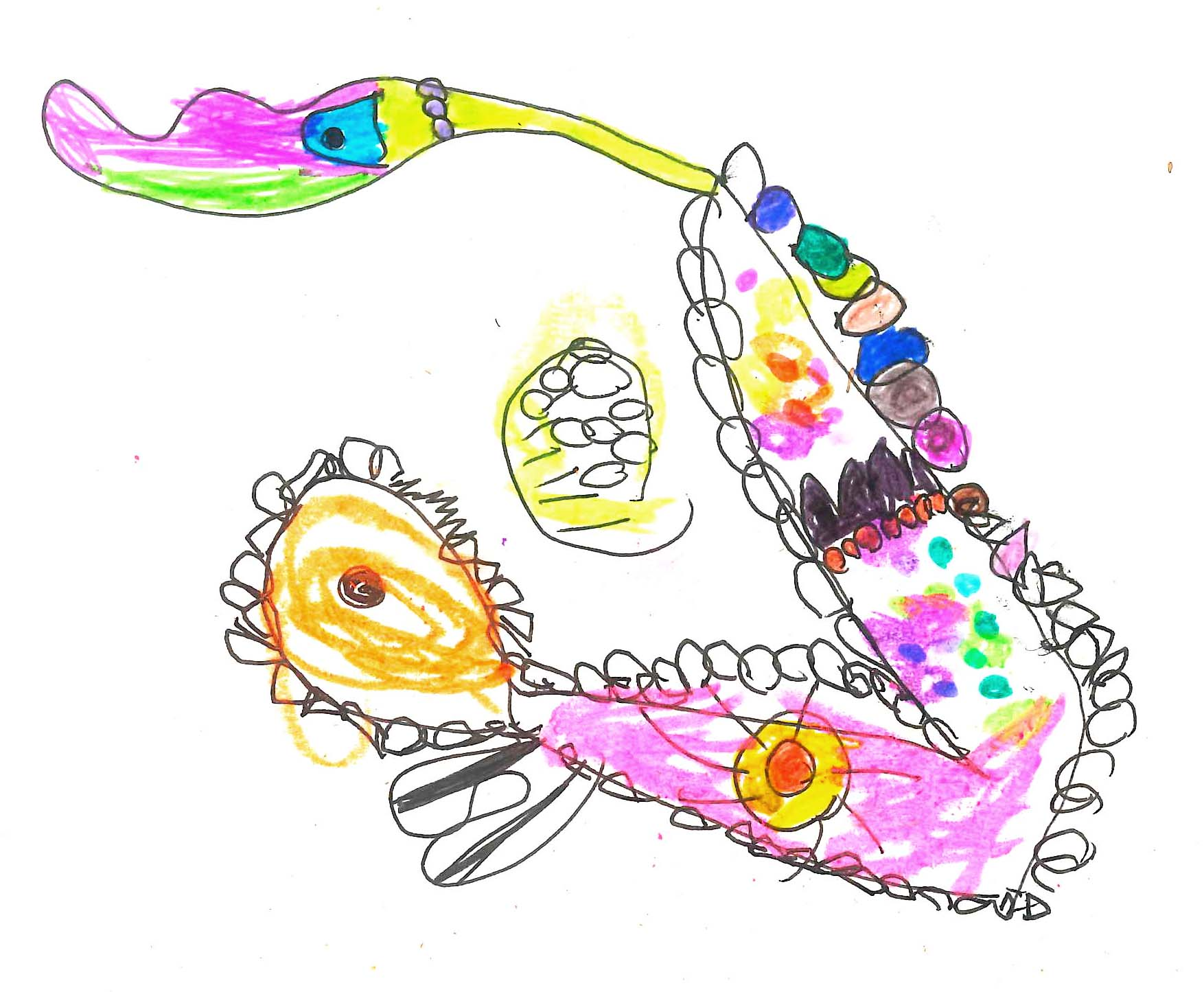 "Researching children's Learning ""Wagyl Rainbow Snake Train"" Artwork"