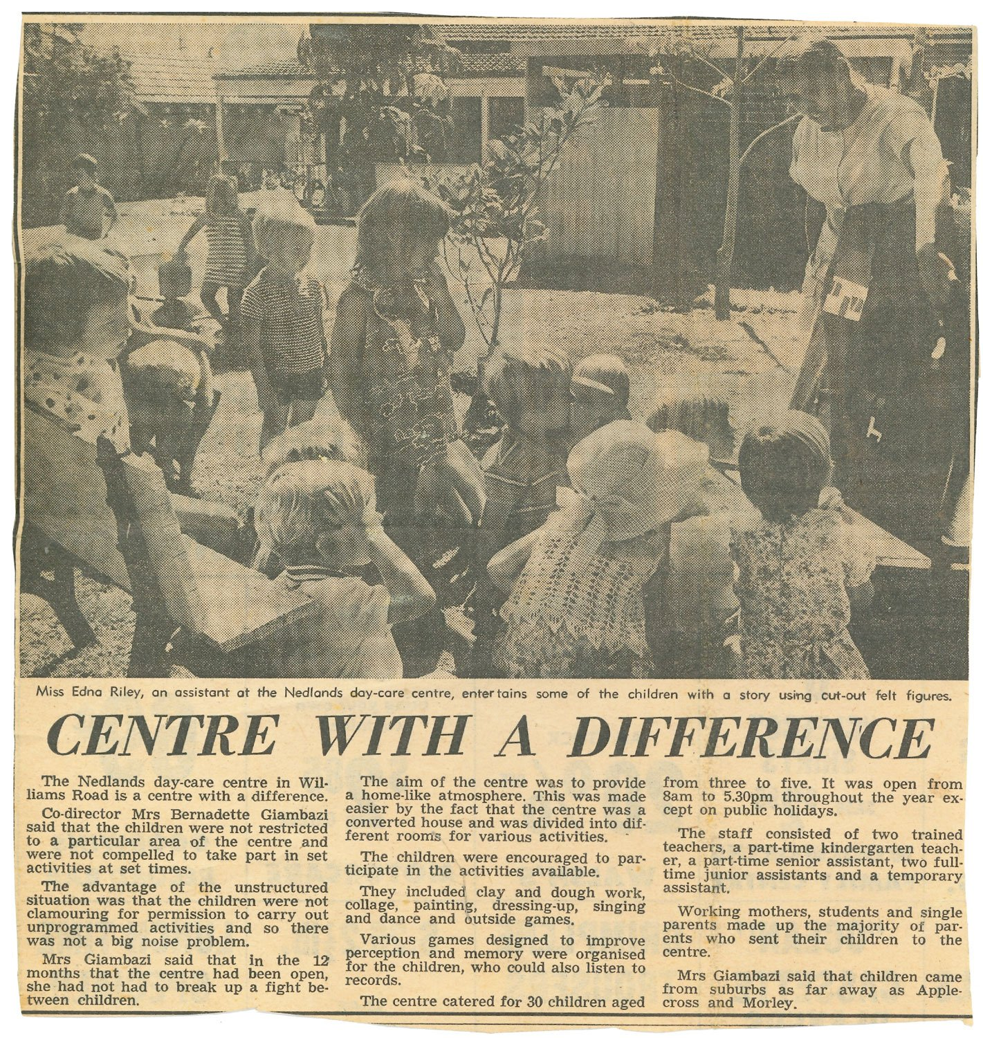 Childcare with a Difference: An article on the original Nedlands School of Early Learning